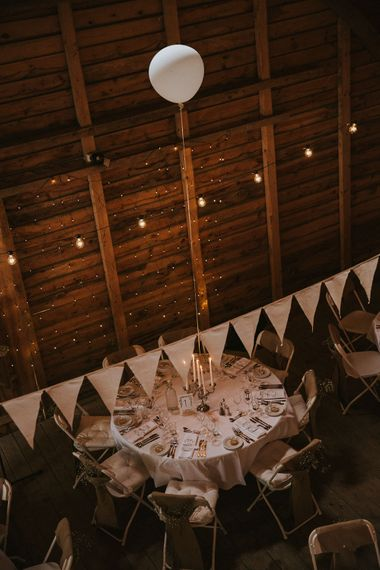Bunting, Balloons & Fairy Lights Wedding Decor | Rustic Barn Wedding in Norway | Christin Eide Photography