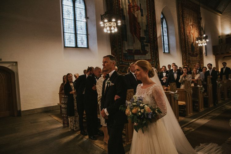 Church Wedding Ceremony | Bride in Willowby Watters 'Amelia' Gown | Rustic Barn Wedding in Norway | Christin Eide Photography