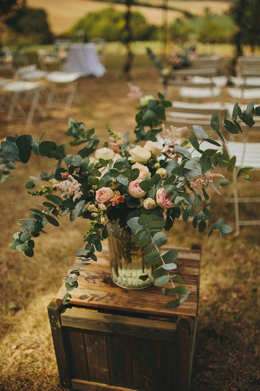Rustic Crate & Blush Pink & Green Aisle Wedding Flowers | Petar Jurica Photography
