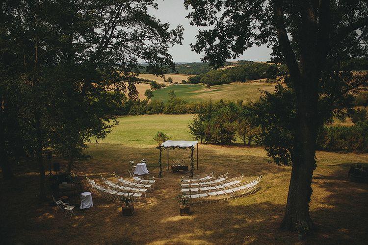 Outdoor Ceremony | Destination Wedding at Chateau de Lartigolle,Pessan France | Petar Jurica Photography