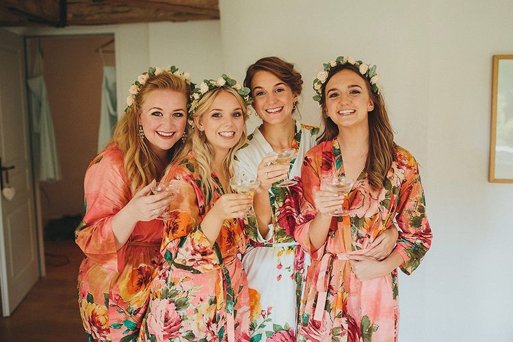 Bride & Bridesmaids Getting Ready in Floral Robes | Petar Jurica Photography