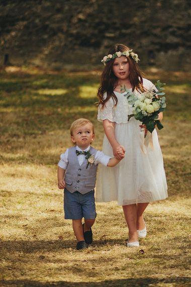 Page Boy & Flower Girl | Outdoor Destination Wedding at Chateau de Lartigolle,Pessan France | Petar Jurica Photography