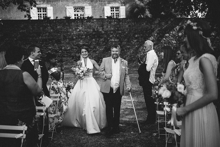 Bride & Father of The Bride | Outdoor Destination Wedding at Chateau de Lartigolle,Pessan France | Petar Jurica Photography