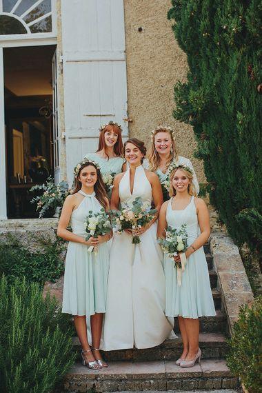 Outdoor Wedding Ceremony | Bride in Jesús Peiró 3000 Dress from Morgan Davies Bridal | Bridesmaids in Mint Green Ted Baker & Banana Republic Dresses | Petar Jurica Photography