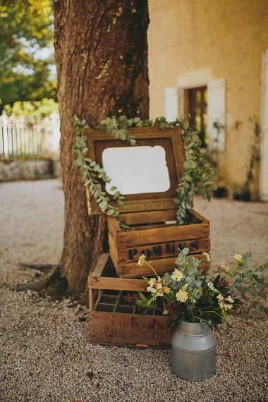 Rustic Crate & Greenery Wedding Decor | Outdoor Wedding Ceremony | Bride in Jesús Peiró 3000 Dress from Morgan Davies Bridal | Groom in New & Lingwood Three Piece Suit | Petar Jurica Photography