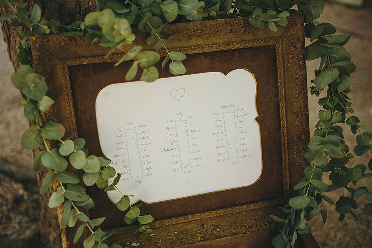 Distressed Table Plan with Eucalyptus Garland | Outdoor Wedding Ceremony | Bride in Jesús Peiró 3000 Dress from Morgan Davies Bridal | Groom in New & Lingwood Three Piece Suit | Petar Jurica Photography