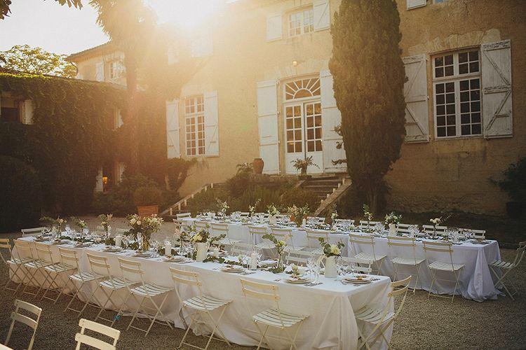 Table Setting | Destination Wedding at Chateau de Lartigolle,Pessan France | Petar Jurica Photography
