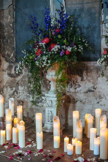 Church Candles and Bright Flower Arrangement at The Asylum | Helen Abraham Photography