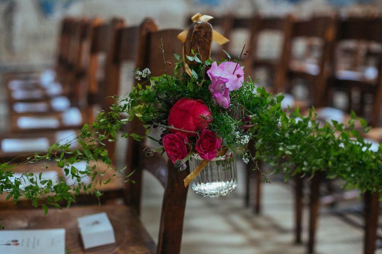 Aisle Chair Flower Decor | Helen Abraham Photography
