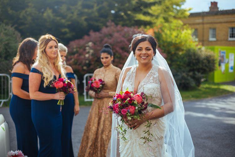 Bride in Lazaro Wedding Dress | Helen Abraham Photography