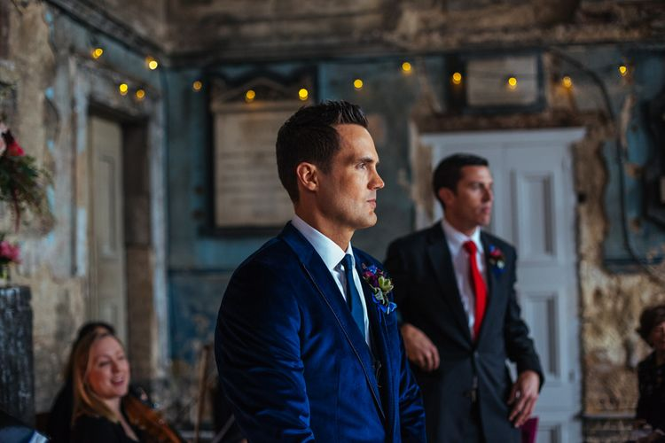 Groom in Navy Ted Baker Suit | Helen Abraham Photography