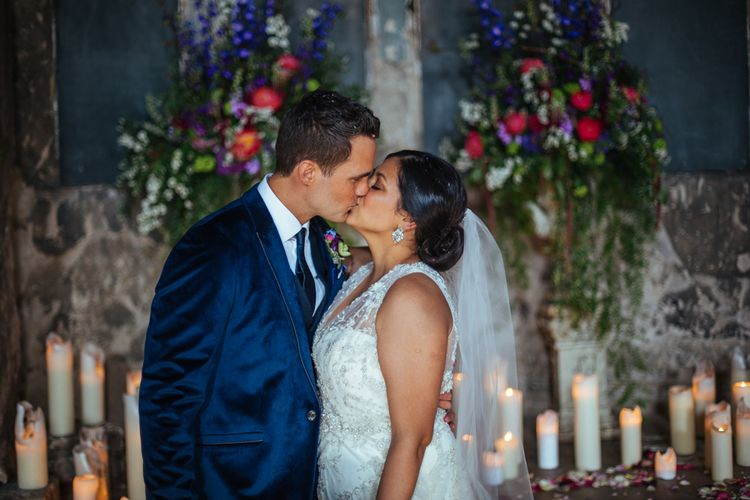 The Asylum Altar | Bride in Lazaro Gown | Groom in Navy Ted Baker Suit | Helen Abraham Photography