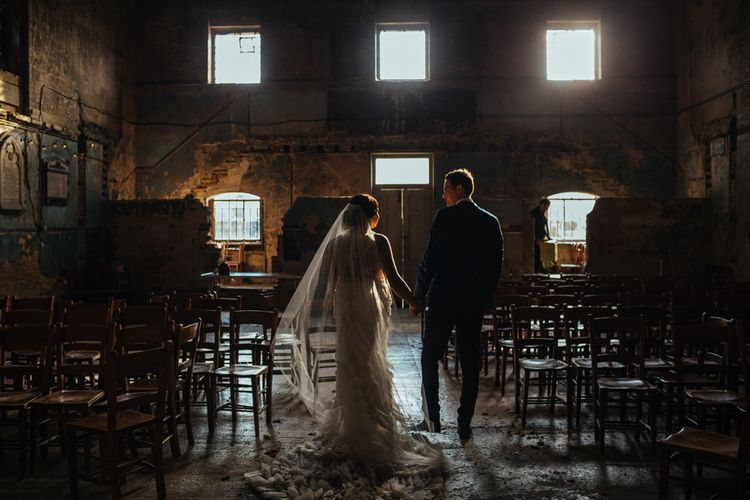 The Asylum | Bride in Lazaro Gown | Groom in Navy Ted Baker Suit | Helen Abraham Photography