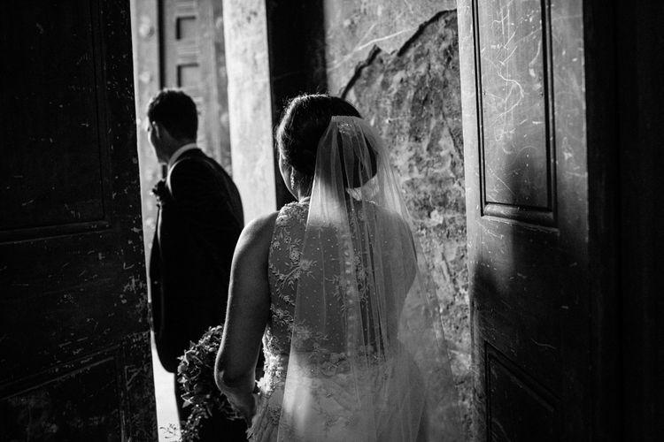 Bride in Lazaro Gown | Groom in Navy Ted Baker Suit | Helen Abraham Photography