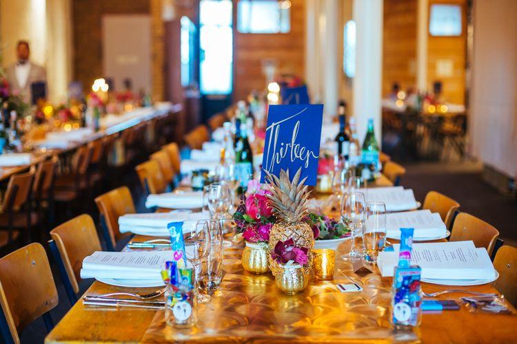 Navy, Gold & Pink Table Decor | Bixton East Pub Wedding Reception | Helen Abraham Photography