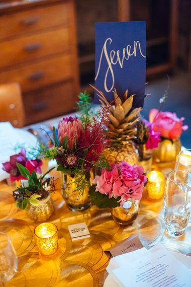 Navy, Gold & Pink Wedding Decor | Bixton East Pub Wedding Reception | Helen Abraham Photography