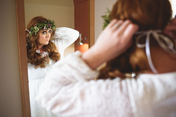 Flower Crown | Outdoor Tipi Wedding at The Georgian Rectory Buckingham | Jackson & Co Photography | Blooming Lovely Films