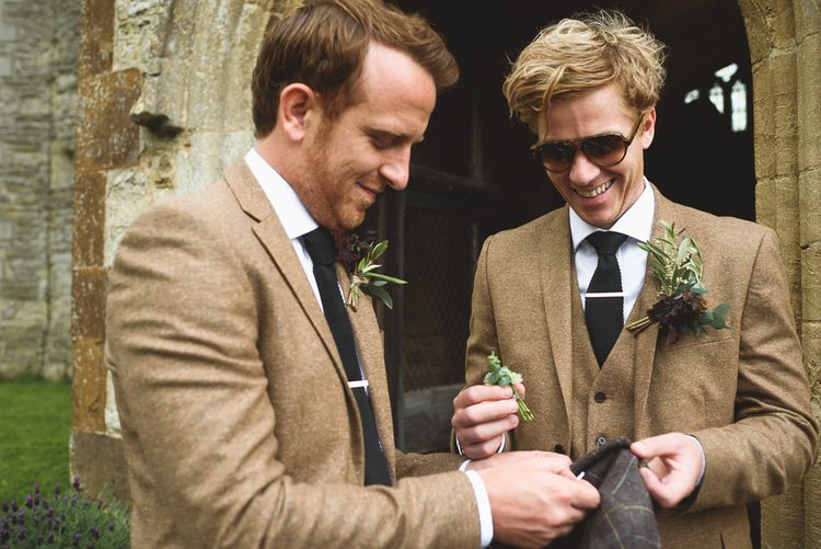 Groom & Best Man in Tweed Jackets | Outdoor Tipi Wedding at The Georgian Rectory Buckingham | Jackson & Co Photography | Blooming Lovely Films