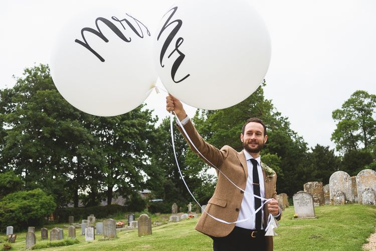 Mr & Mrs Giant Balloons | Outdoor Tipi Wedding at The Georgian Rectory Buckingham | Jackson & Co Photography | Blooming Lovely Films