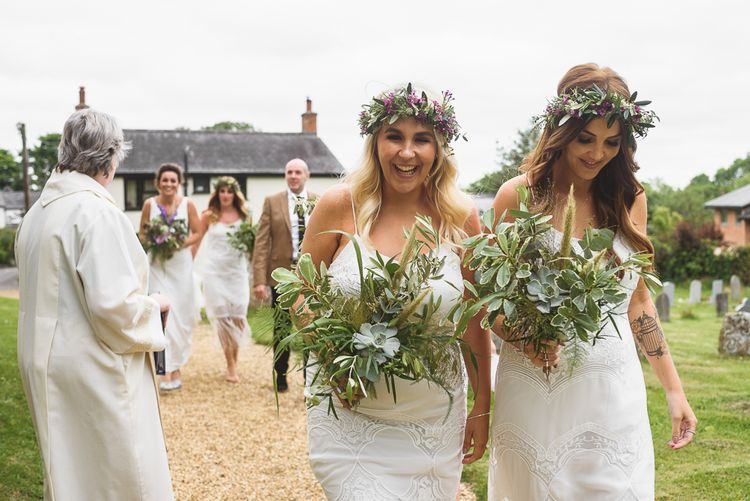 Bridesmaids in White with Flower Crowns & Greenery Bouquets | Outdoor Tipi Wedding at The Georgian Rectory Buckingham | Jackson & Co Photography | Blooming Lovely Films