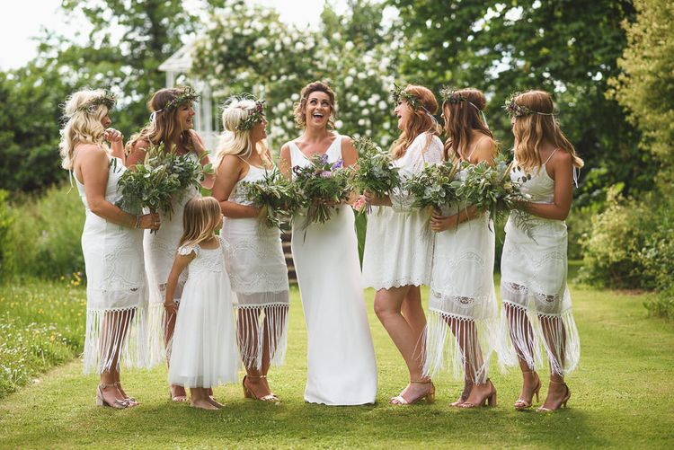 Bridesmaids in White Dresses & Flower Crowns | Bride in Charlie Brear Gown | Outdoor Tipi Wedding at The Georgian Rectory Buckingham | Jackson & Co Photography | Blooming Lovely Films