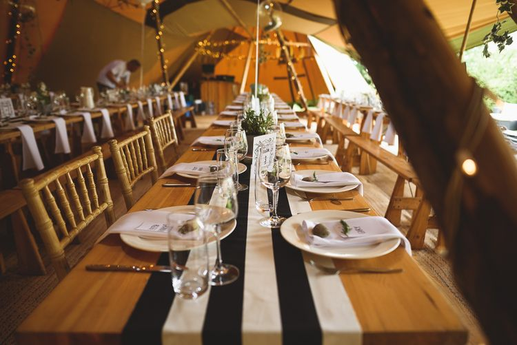 Stripy Table Runner | Outdoor Tipi Wedding at The Georgian Rectory Buckingham | Jackson & Co Photography | Blooming Lovely Films