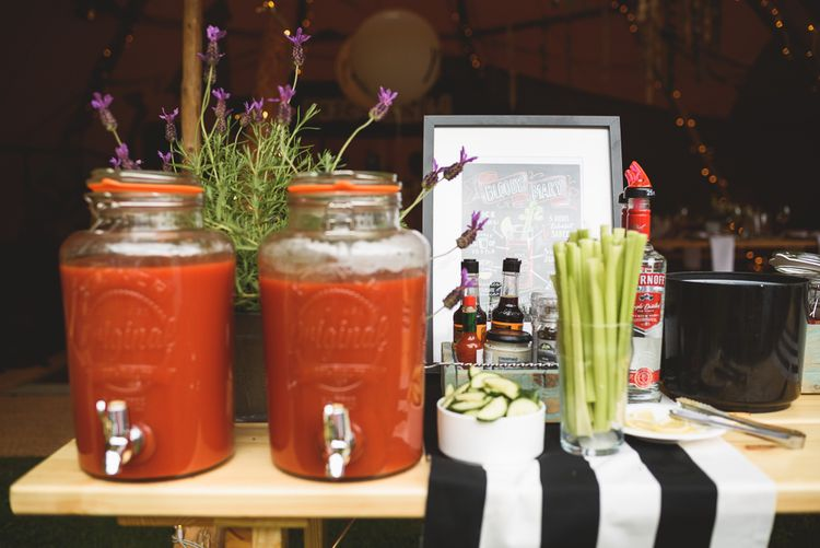 Bloody Mary Station | Outdoor Tipi Wedding at The Georgian Rectory Buckingham | Jackson & Co Photography | Blooming Lovely Films