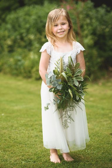 Flower Girl in Monsoon Dress | Outdoor Tipi Wedding at The Georgian Rectory Buckingham | Jackson & Co Photography | Blooming Lovely Films