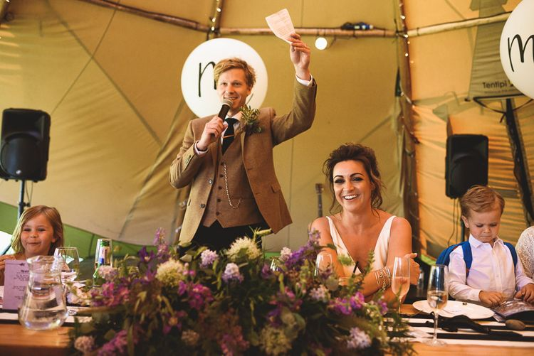 Wedding Speeches | Groom in Wool Jacket | Outdoor Tipi Wedding at The Georgian Rectory Buckingham | Jackson & Co Photography | Blooming Lovely Films