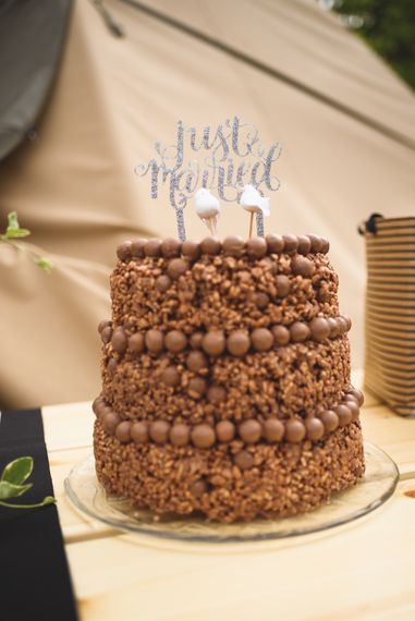 Chocolate Rice Crispy Wedding Cake | Outdoor Tipi Wedding at The Georgian Rectory Buckingham | Jackson & Co Photography | Blooming Lovely Films