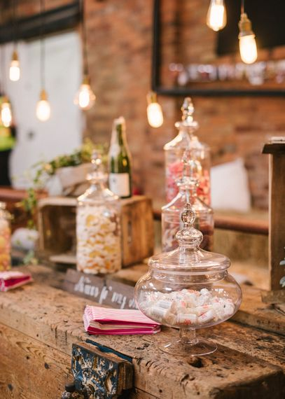 Industrial Lighting & Sweet Table with Apothecary Jars