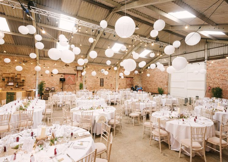 Hanging Paper Lantern Filled Rustic Barn Reception
