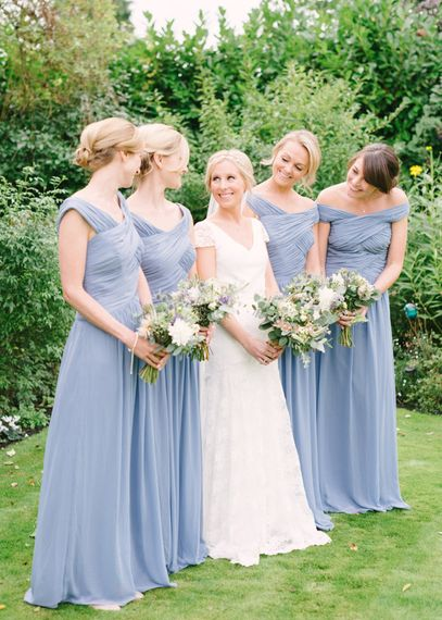 Bridesmaids in Pale Blue Dessy Dresses