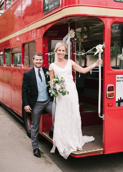 Red Routemaster Bus Wedding Transport with Bride in Charlie Brear Peyton Dress & Augustine Skirt