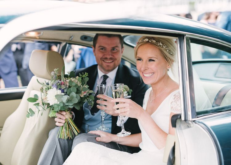 Traditional Wedding Car with Bride in Charlie Brear Peyton Dress & Augustine Skirt