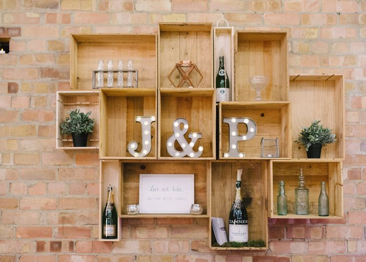 Hanging Wooden Crate Wedding Decor