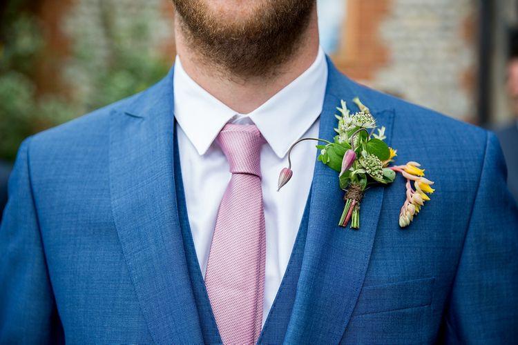 Blue French Connection Suit, Tie & Buttonhole
