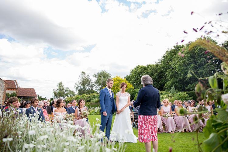 Bride & Groom Outdoor Wedding Ceremony at Chaucer Barn, Norfolk