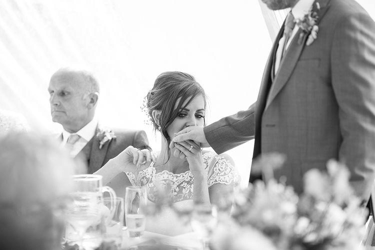 Affectionate Bride during Wedding Speeches