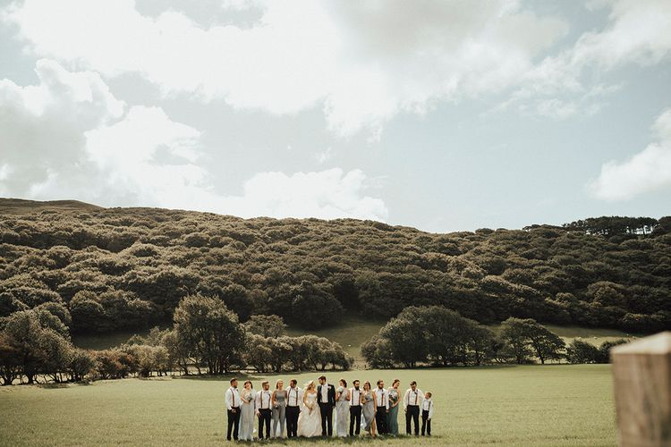 Wedding Party | Outdoor Festival Beach Wedding at Aberdovey in Wales | Katie Ingram Photography