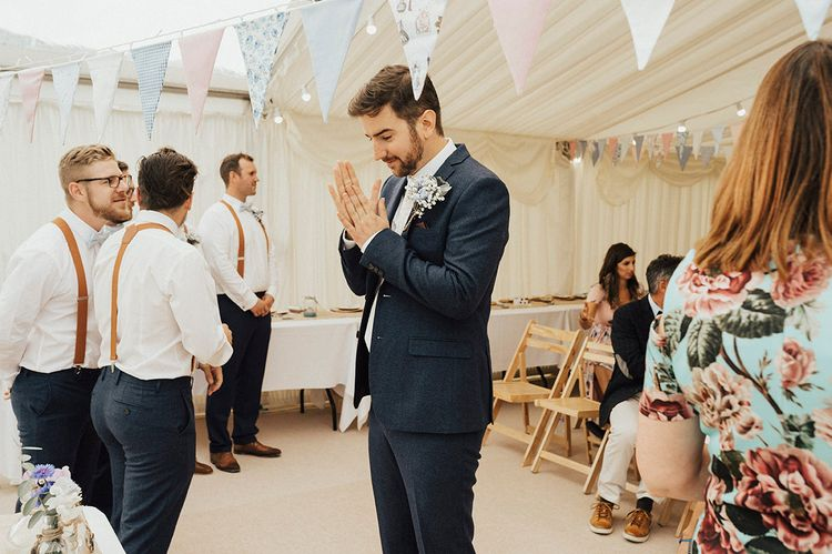 Wedding Ceremony | Groom at the Altar | Outdoor Festival Beach Wedding at Aberdovey in Wales | Katie Ingram Photography