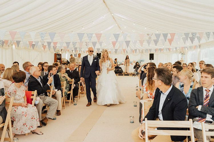 Bridal Entrance | Wedding Ceremony | Outdoor Festival Beach Wedding at Aberdovey in Wales | Katie Ingram Photography