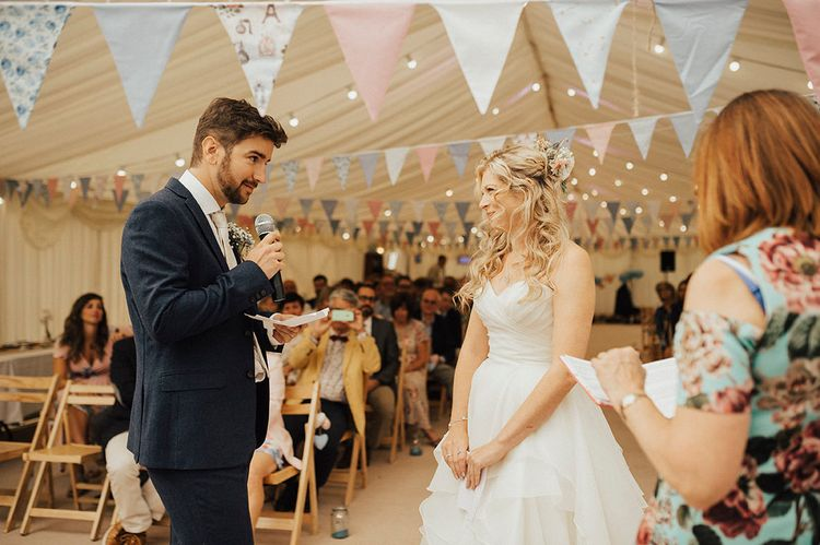 Wedding Ceremony | Outdoor Festival Beach Wedding at Aberdovey in Wales | Katie Ingram Photography
