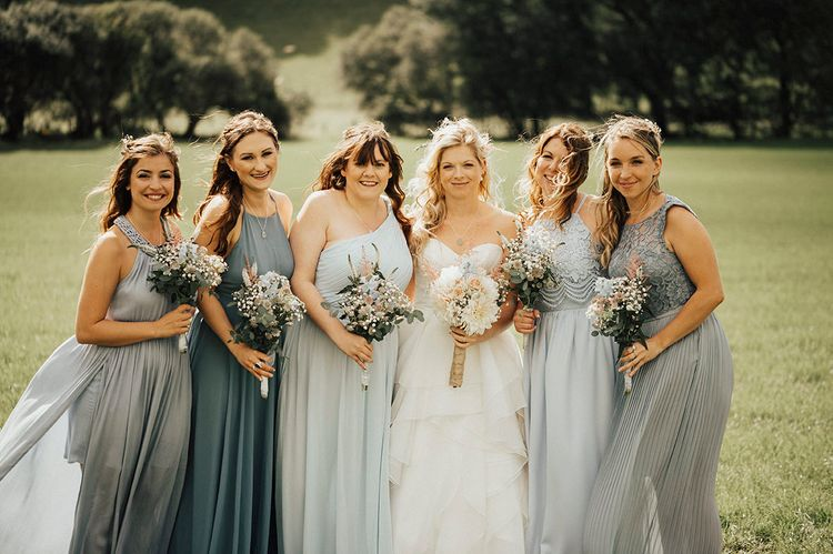 Bridesmaids in Blue Dresses | Outdoor Festival Beach Wedding at Aberdovey in Wales | Katie Ingram Photography