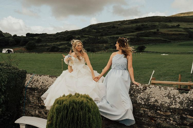 Bride & Bridesmaids | Outdoor Festival Beach Wedding at Aberdovey in Wales | Katie Ingram Photography