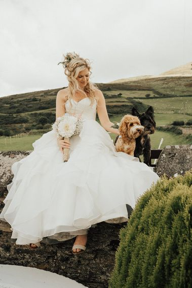 Bride & Puppy | Outdoor Festival Beach Wedding at Aberdovey in Wales | Katie Ingram Photography