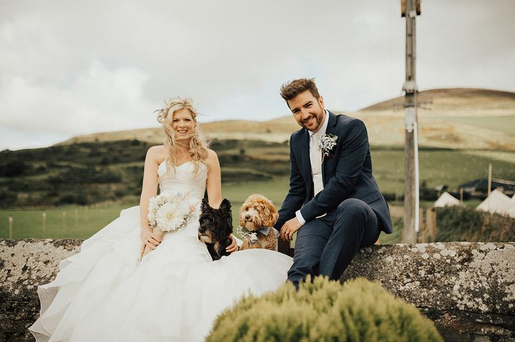 Bride & Groom & Pet Dog | Outdoor Festival Beach Wedding at Aberdovey in Wales | Katie Ingram Photography