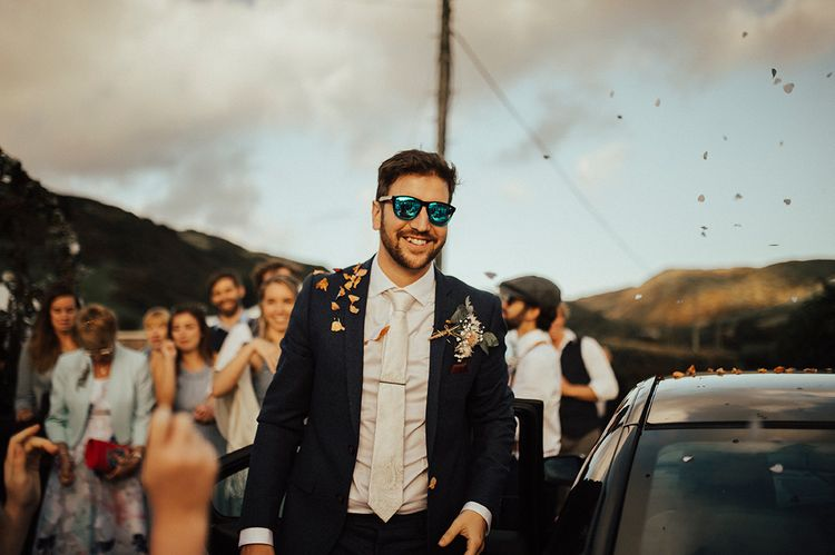 Groom | Outdoor Festival Beach Wedding at Aberdovey in Wales | Katie Ingram Photography