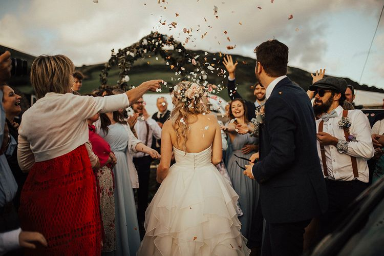 Confetti Moment | Outdoor Festival Beach Wedding at Aberdovey in Wales | Katie Ingram Photography