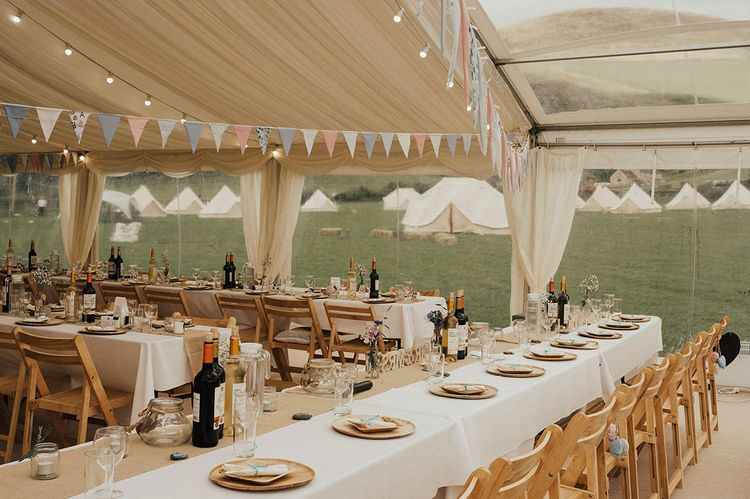 Marquee Decor | Outdoor Festival Beach Wedding at Aberdovey in Wales | Katie Ingram Photography